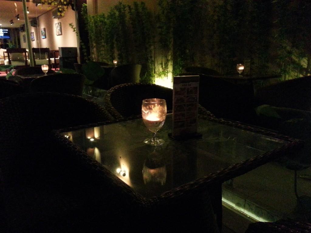 Romantic candles at Sen Cafe at night