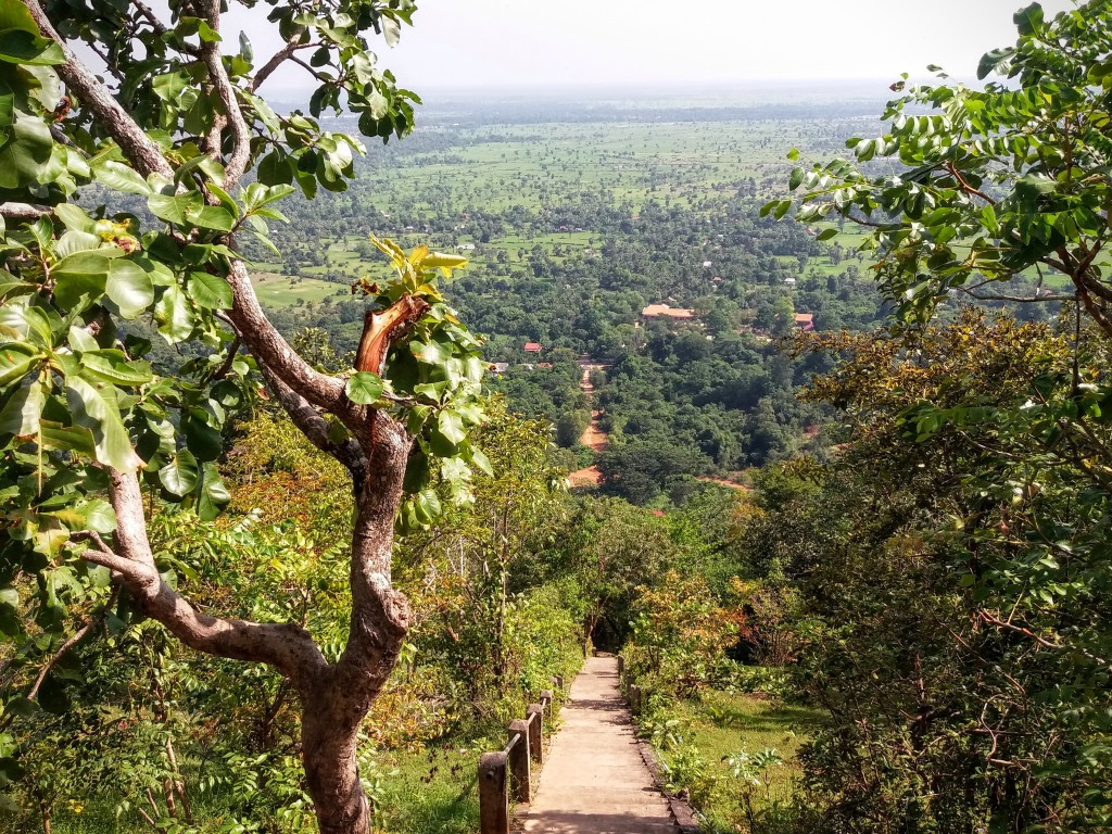 View from the top of the stairs at Phnom Bok