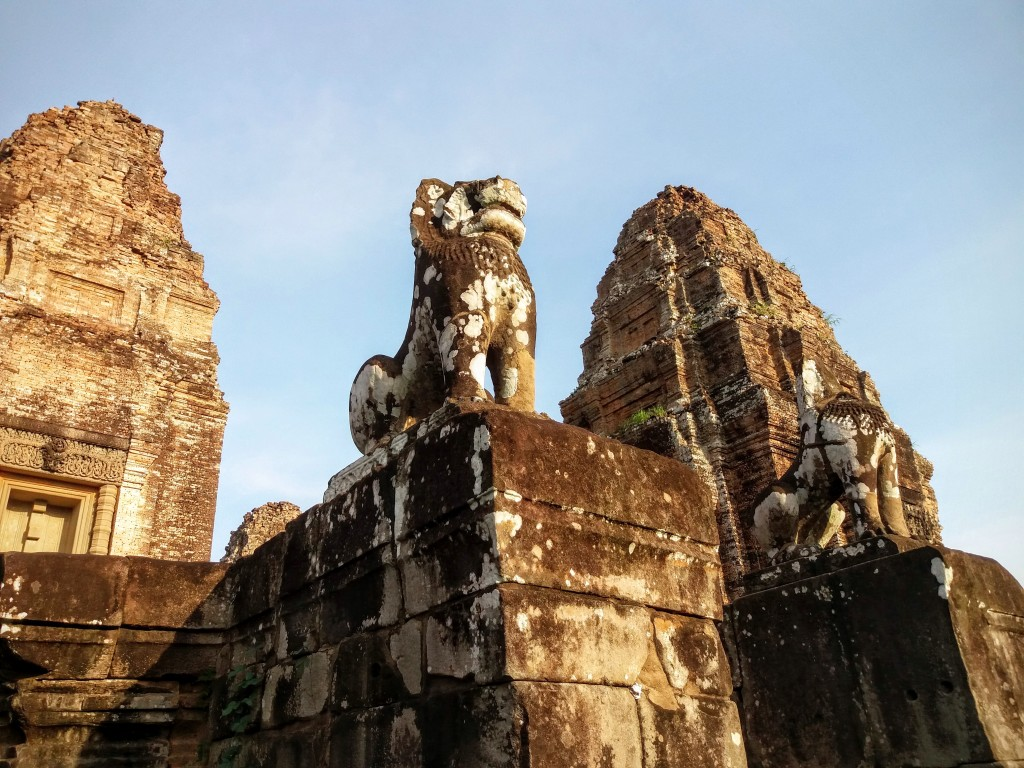 Lion guarding the stairs to the top of Eastern Mebon temple
